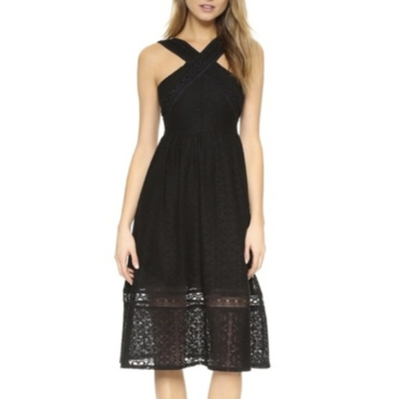J.O.A. Dresses & Skirts - JOA Black Lace Fit and Flare Midi Dress
